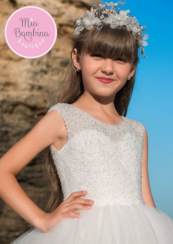 A Destination Wedding Flower Girl Dress with Crystals - Mia Bambina Boutique