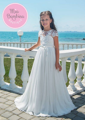 Buy Girls First Communion Dress with Lace Shoulders - Mia Bambina Boutique