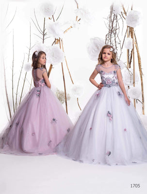 Buy Grey and Silver wedding theme Flower Girl Dress 1705 - Mia Bambina Boutique