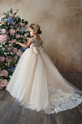 Buy Imagina Flower Girls Tulle Ball Gown with Flutter Sleeves and a Lace Back - Mia Bambina Boutique