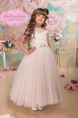 Buy Irena Girls Champagne Dress - Mia Bambina Boutique