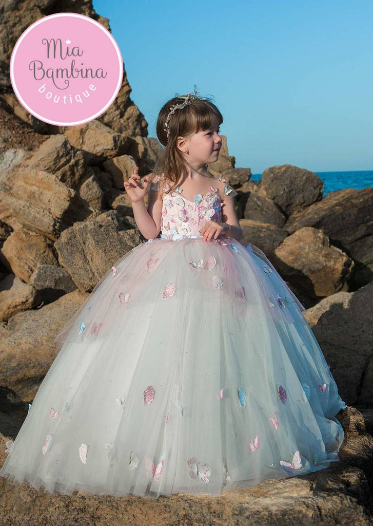 Little Girl Birthday / Wedding Ball Gown with Butterflies - Mia Bambina Boutique