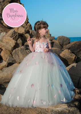 Buy Little Girl Birthday / Wedding Ball Gown with Butterflies - Mia Bambina Boutique