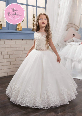 Buy Modesto First Communion Dress in Tulle with Rhinestone Belt - Mia Bambina Boutique