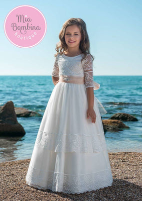 Buy Wonderful First Communion Dress with Lace Sleeves - Mia Bambina Boutique