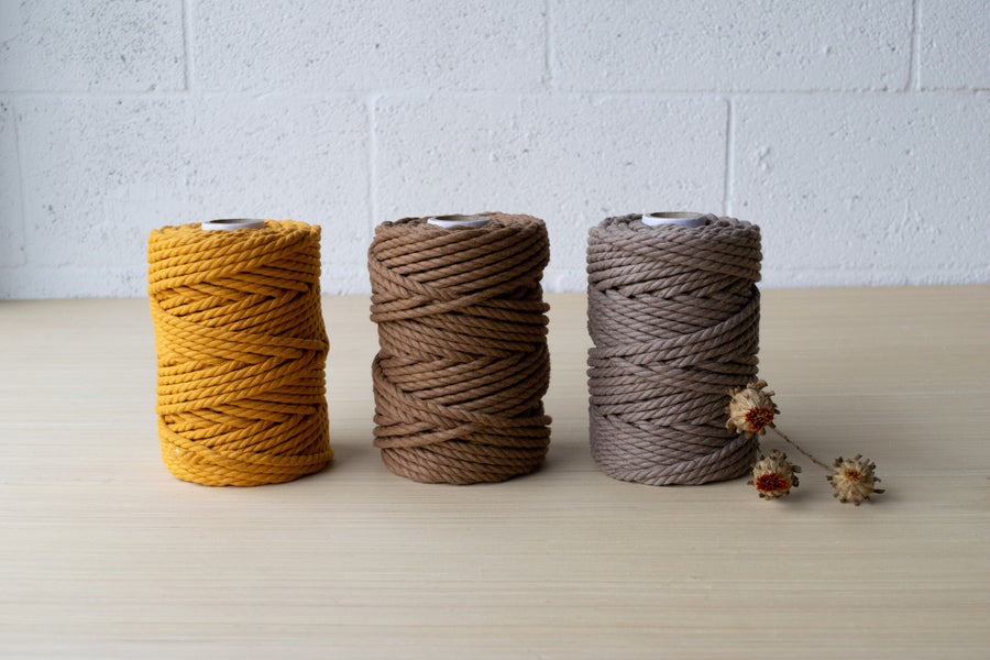 COTTON ROPE 5 MM - 3 PLY - CAMEL COLOR
