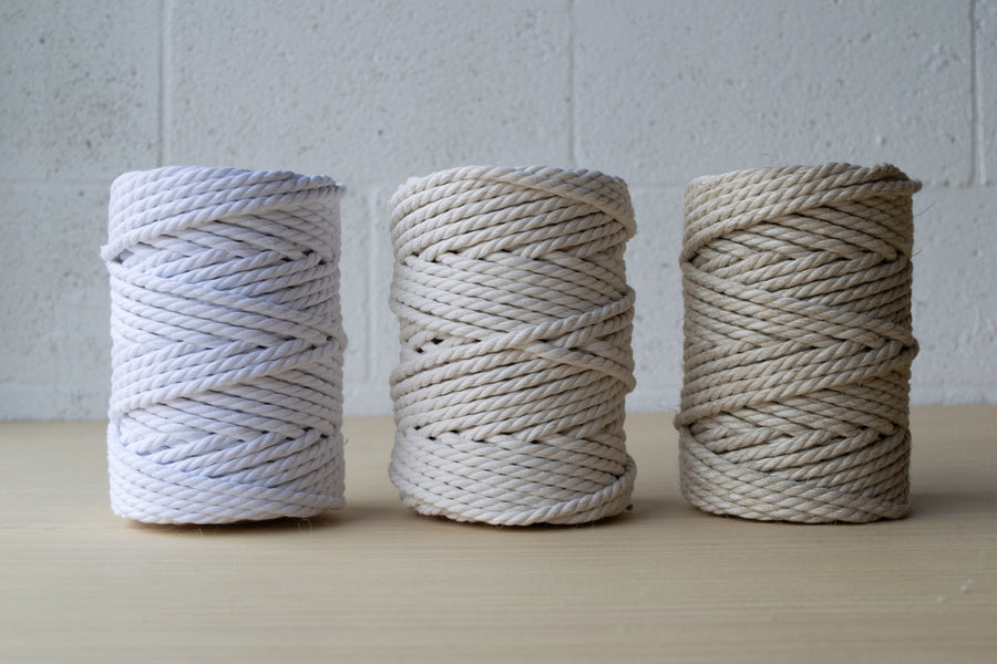 COTTON ROPE ZERO WASTE 5 MM - 3 PLY - WHITE COLOR