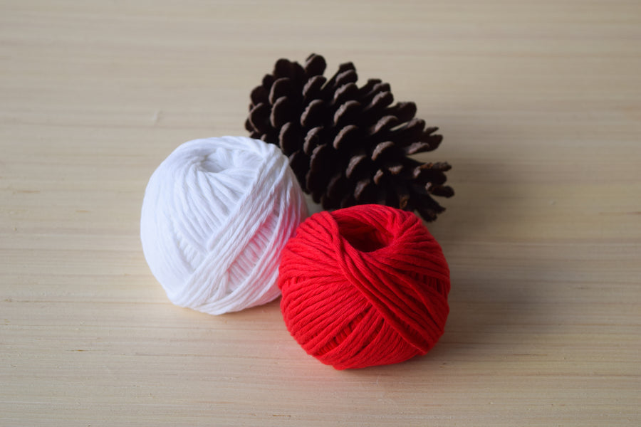 ORGANIC COTTON BALL 2MM - RED COLOR