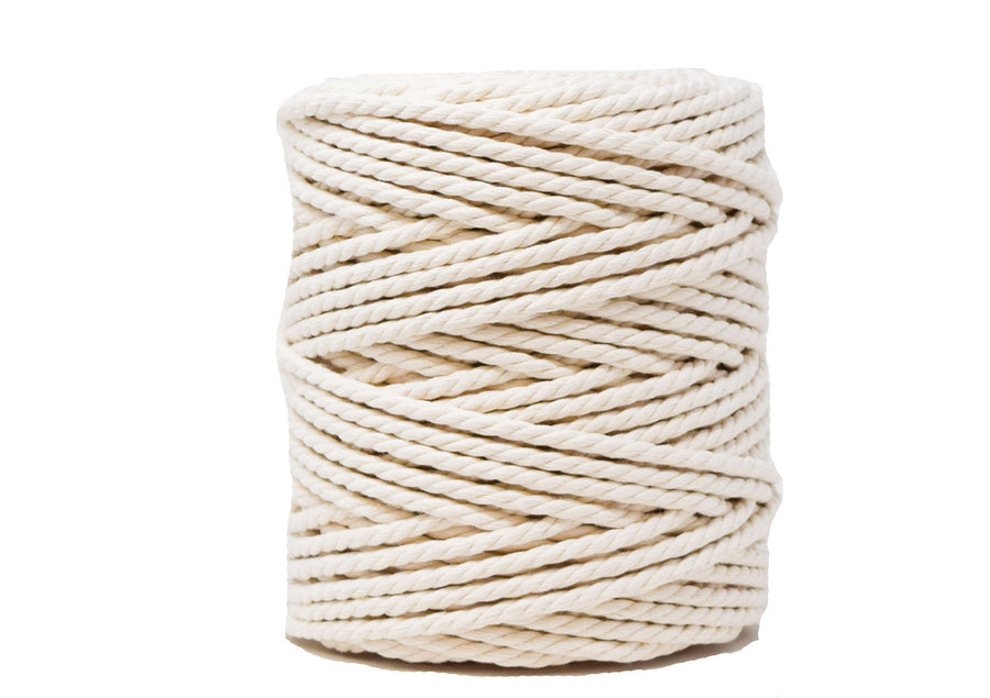 EXTRA LONG COTTON ROPE ZERO WASTE 5 MM - 3 PLY - NATURAL COLOR