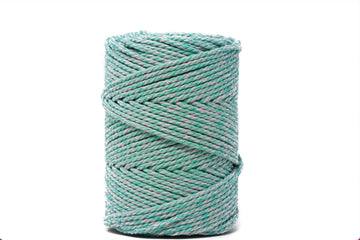 DUAL COTTON ROPE ZERO WASTE 3 MM - 3 PLY - AQUAMARINE + CHERRY BLOSSOM COLOR