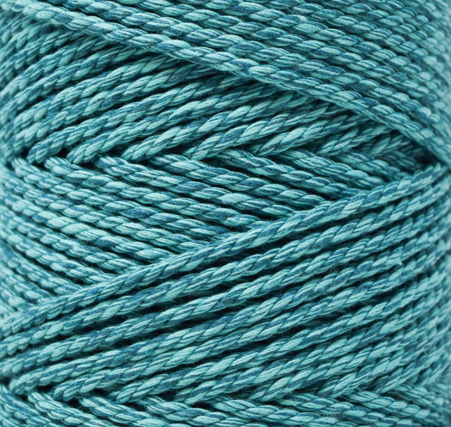 DUAL COTTON ROPE ZERO WASTE 3 MM - 3 PLY - AQUAMARINE + TEAL COLOR