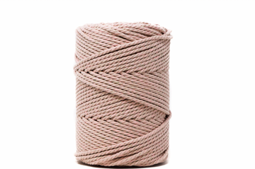 DUAL COTTON ROPE ZERO WASTE 3 MM - 3 PLY - BEIGE + CHERRY BLOSSOM COLOR