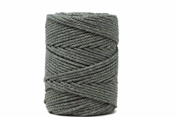 DUAL COTTON ROPE ZERO WASTE 3 MM - 3 PLY - EUCALYPTUS + CHARCOAL COLOR