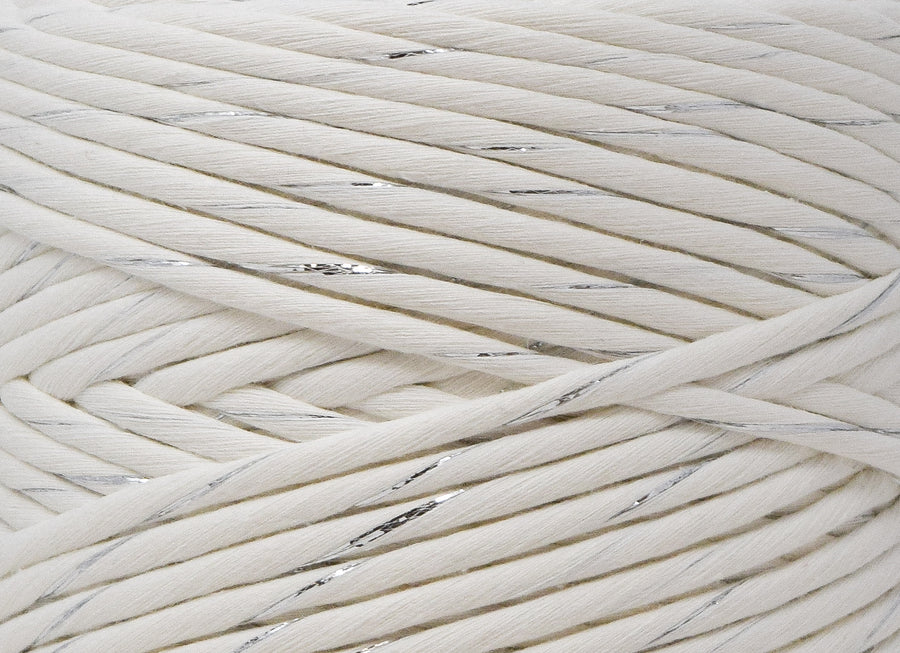 METALLIC COTTON CORD ZERO WASTE 4 MM - 1 SINGLE STRAND -  SILVER