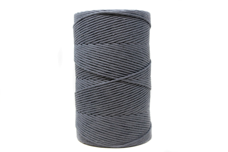 SOFT COTTON CORD 4 MM - 1 SINGLE STRAND - IRON GRAY COLOR