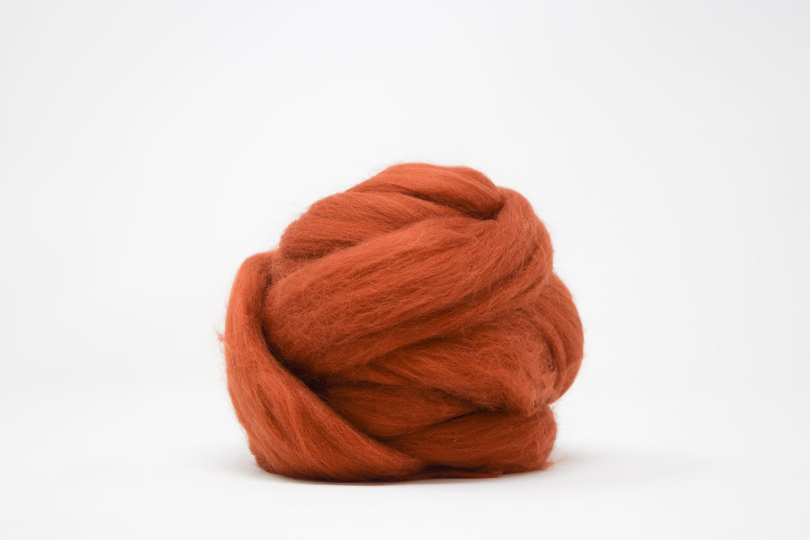MERINO WOOL ROVING - BURNT ORANGE