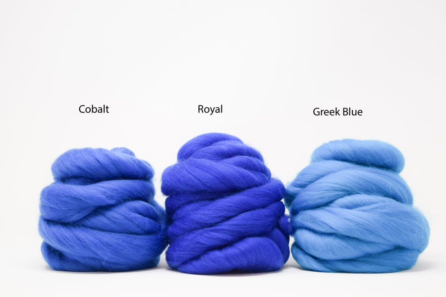 MERINO WOOL ROVING - ROYAL BLUE