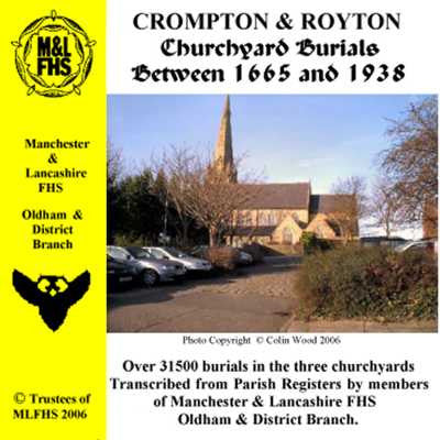 Crompton and Royton Churchyard Burials 1665-1938