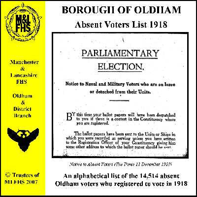 Oldham Absent Voters List 1918