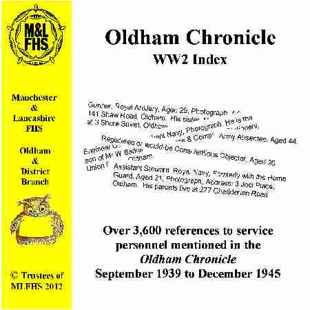 Oldham Chronicles WW2 Index of Service Personnel 1939-45