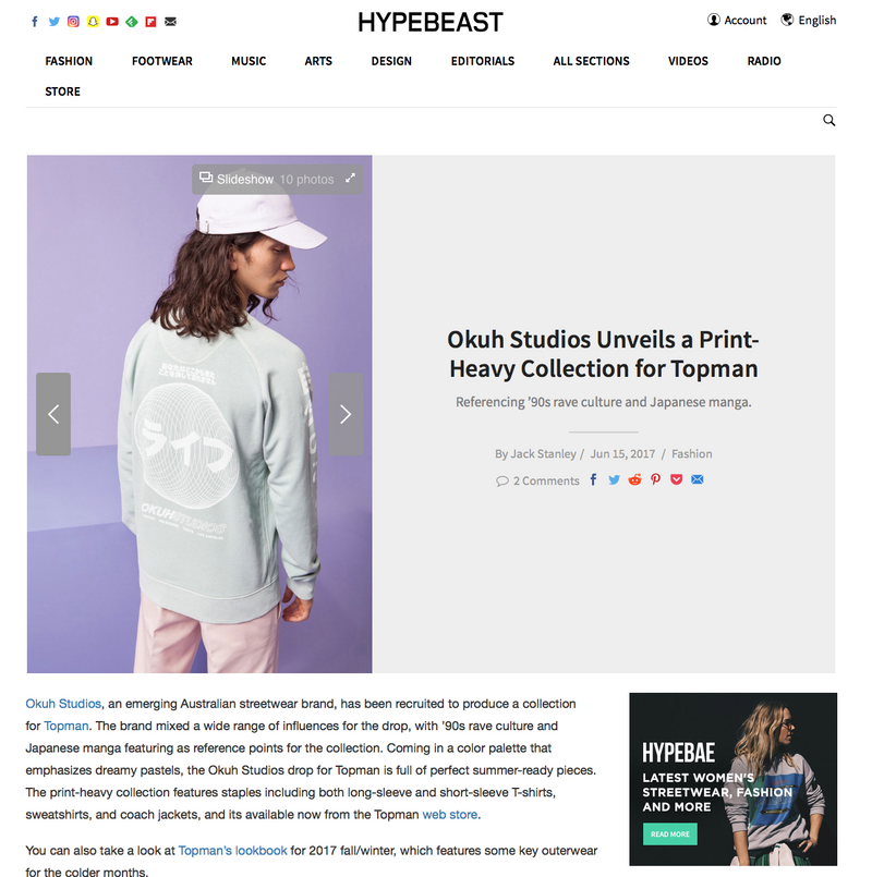 HYPEBEAST features OKUH X TOPMAN collection