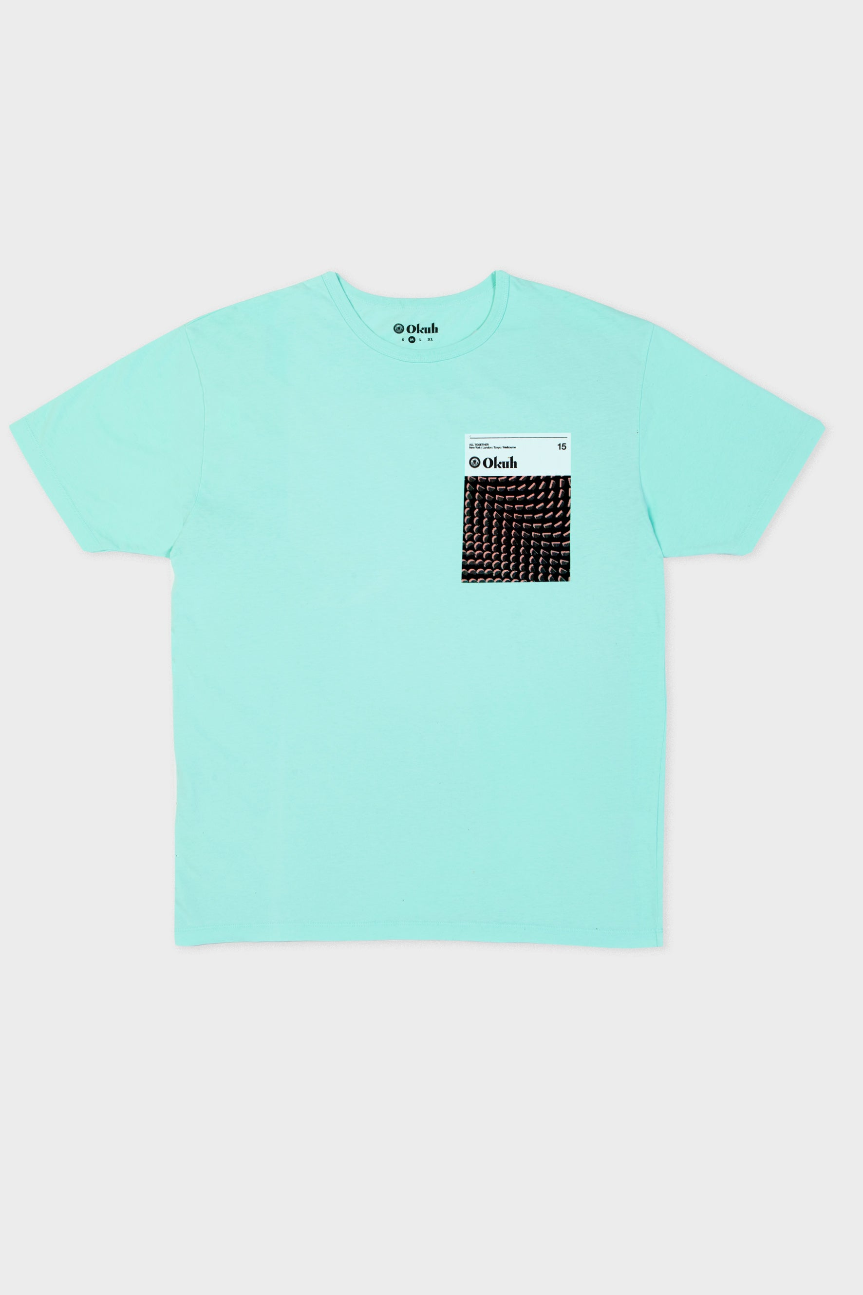Blue Pixel Palm Chest Print T-Shirt