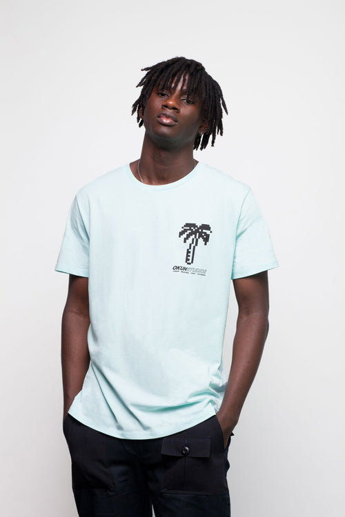 Blue Pixel Palm Chest T-shirt by Okuh Studios, mens streetwear fashion brand, Front Worn