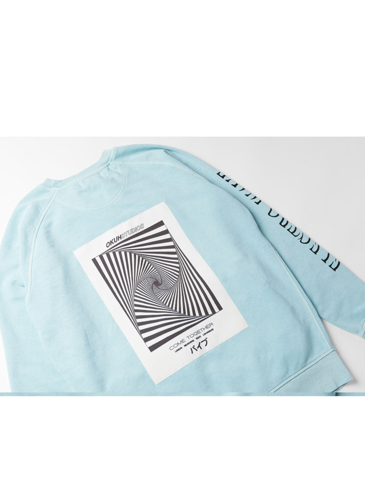 Electrowave Blue Sweatshirt by Okuh Studios, mens streetwear fashion brand, Back close up