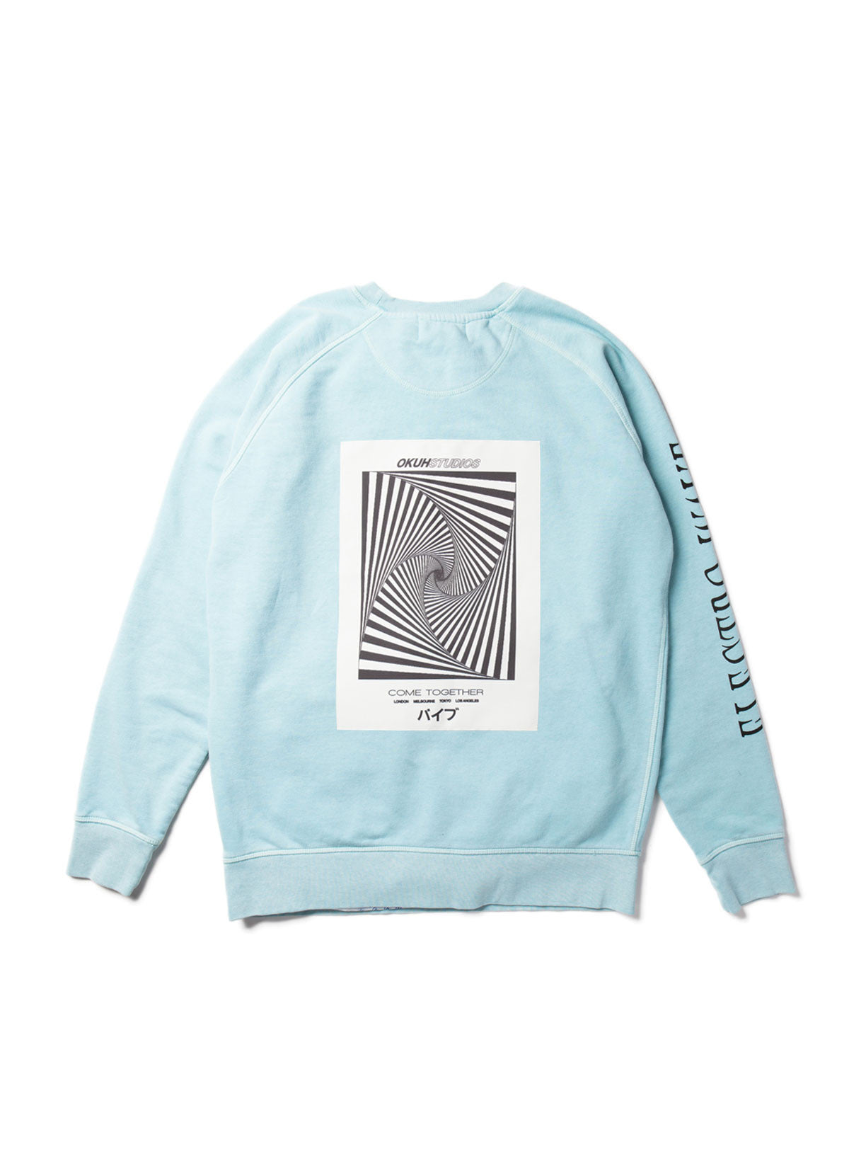 Electrowave Blue Sweatshirt by Okuh Studios, mens streetwear fashion brand, Back
