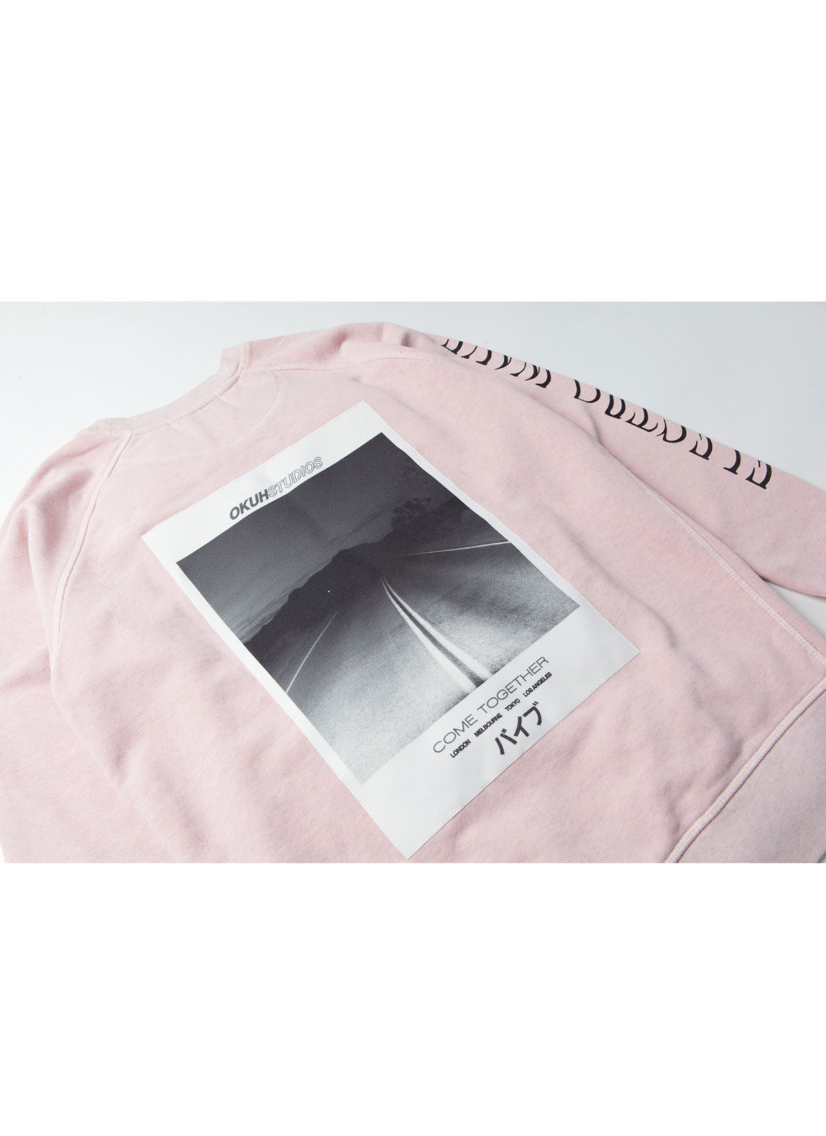 Electrowave Pink Sweatshirt by Okuh Studios, mens streetwear fashion brand, Back close up