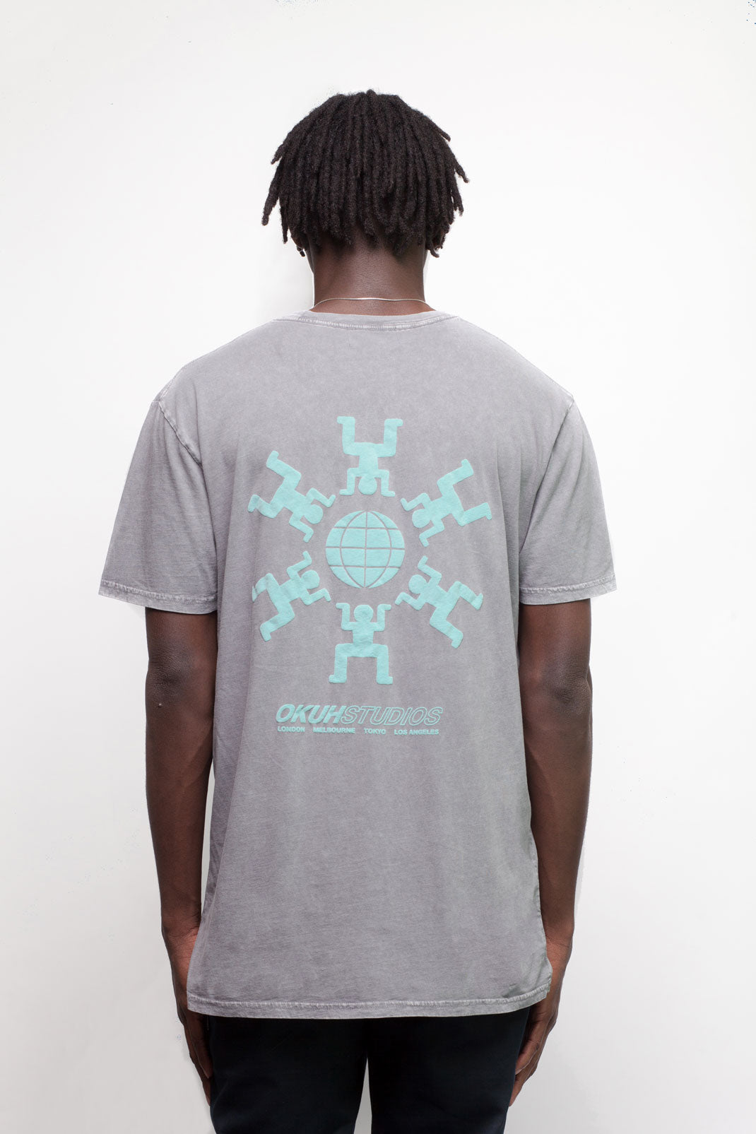 Grey Acid Was Globe T-Shirt - okuhstudios