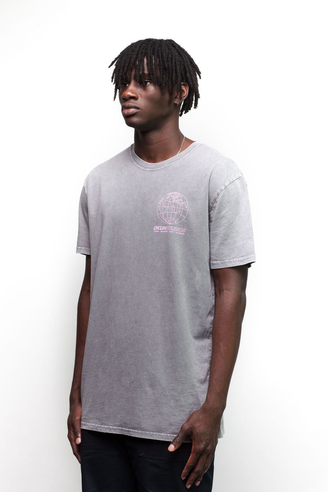 Grey Acid Wash Globe T-Shirt - okuhstudios