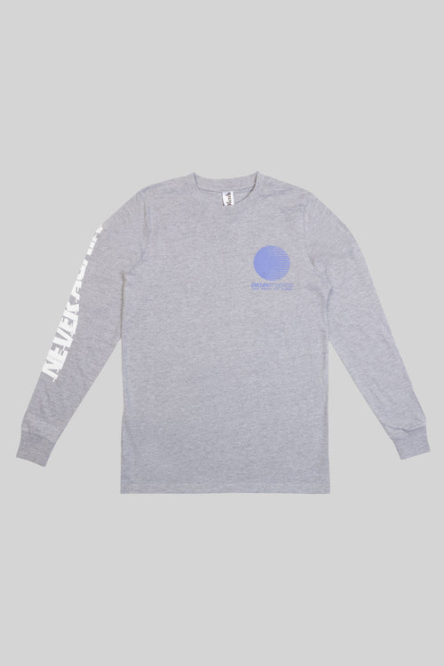 Grey Marl Never Again Long Sleeve T-Shirt - okuhstudios