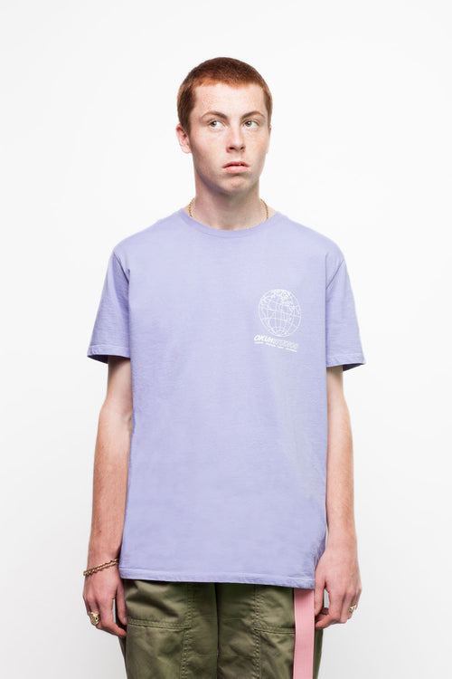 Lilac Technovision T-shirt by Okuh Studios, mens streetwear fashion brand, Front Worn