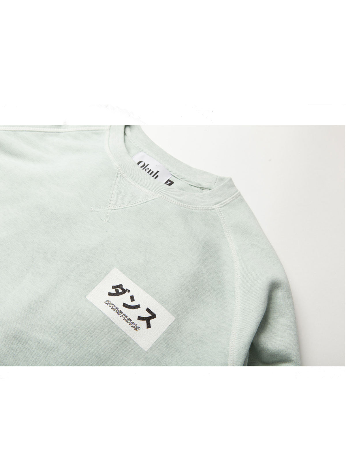 Mint Sphere Sweatshirt by Okuh Studios, mens streetwear fashion brand, front close up