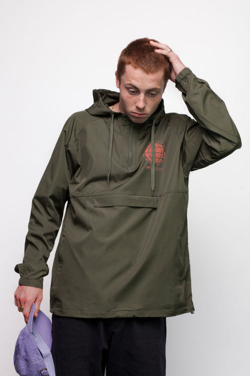 Olive Globe Chest Overhead Jacket by Okuh Studios, mens streetwear fashion brand, Front Side Worn