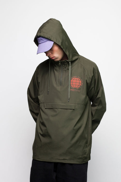 Olive Globe Chest Over Head Jacket - okuhstudios