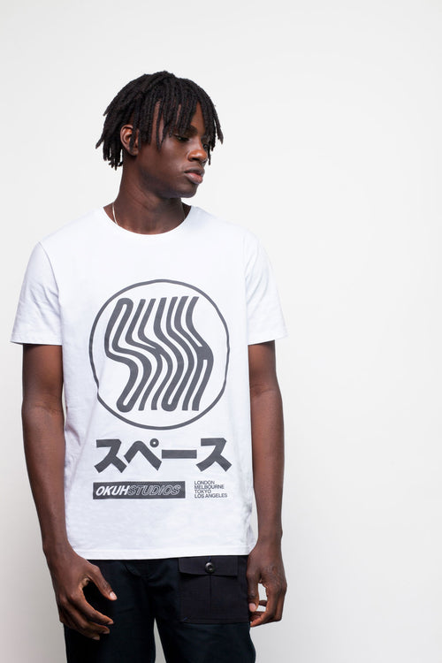 White Charcoal Ghost T-Shirt by Okuh Studios, mens streetwear fashion brand, Front Side Worn