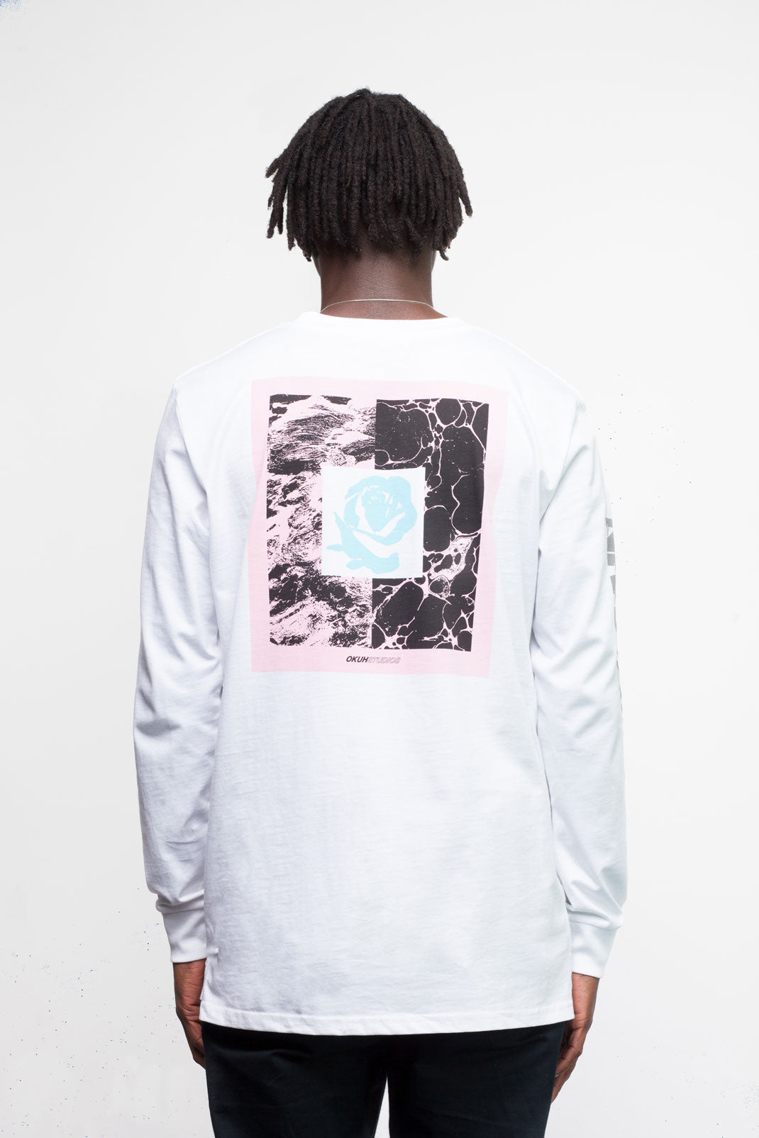 White Never Again Longsleeve T-shirt by Okuh Studios, mens streetwear fashion brand, Back Worn