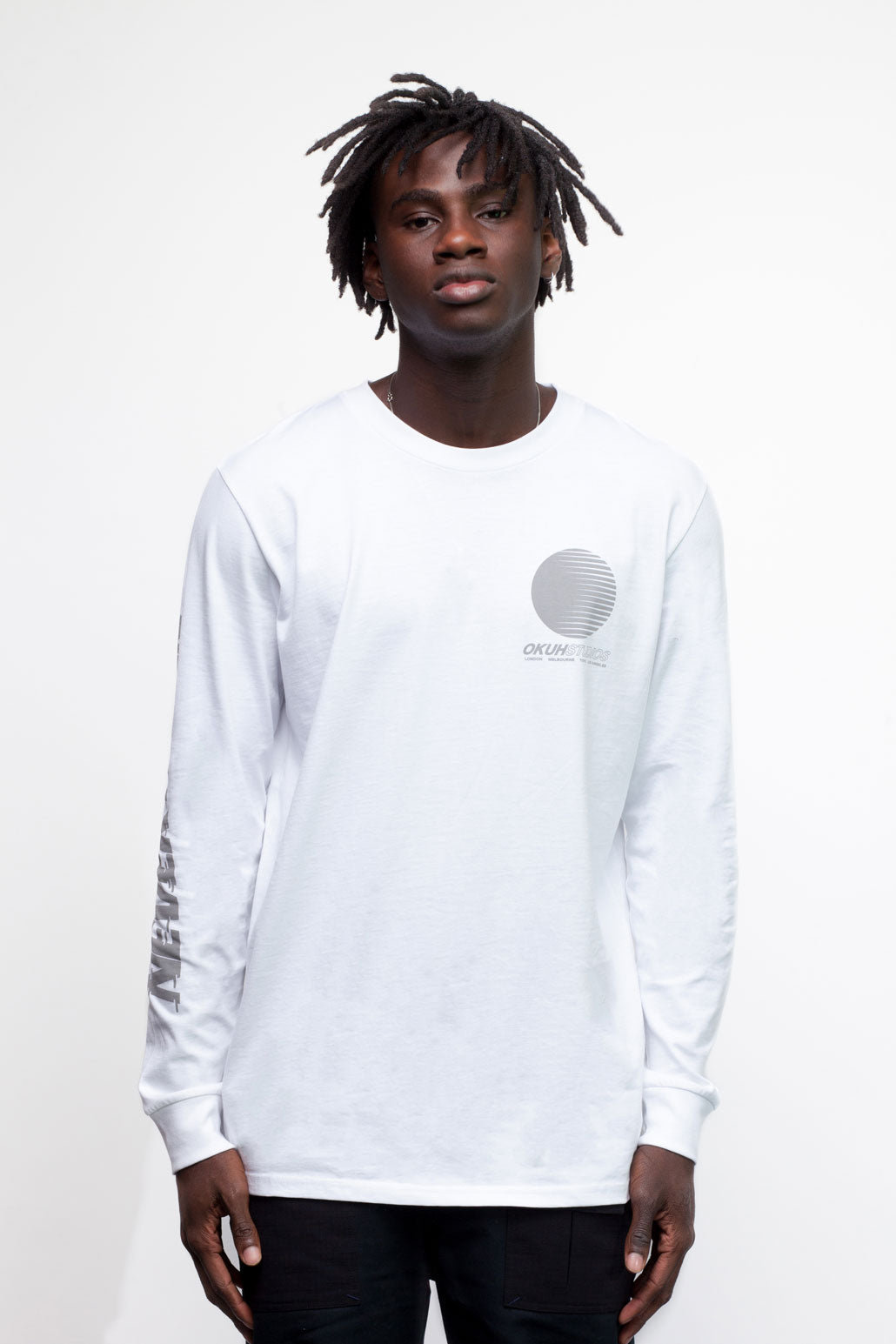 White Never Again Longsleeve T-shirt by Okuh Studios, mens streetwear fashion brand, Front Worn