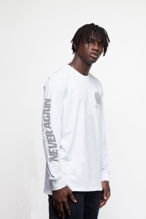 White Never Again Long Sleeve T-Shirt - okuhstudios