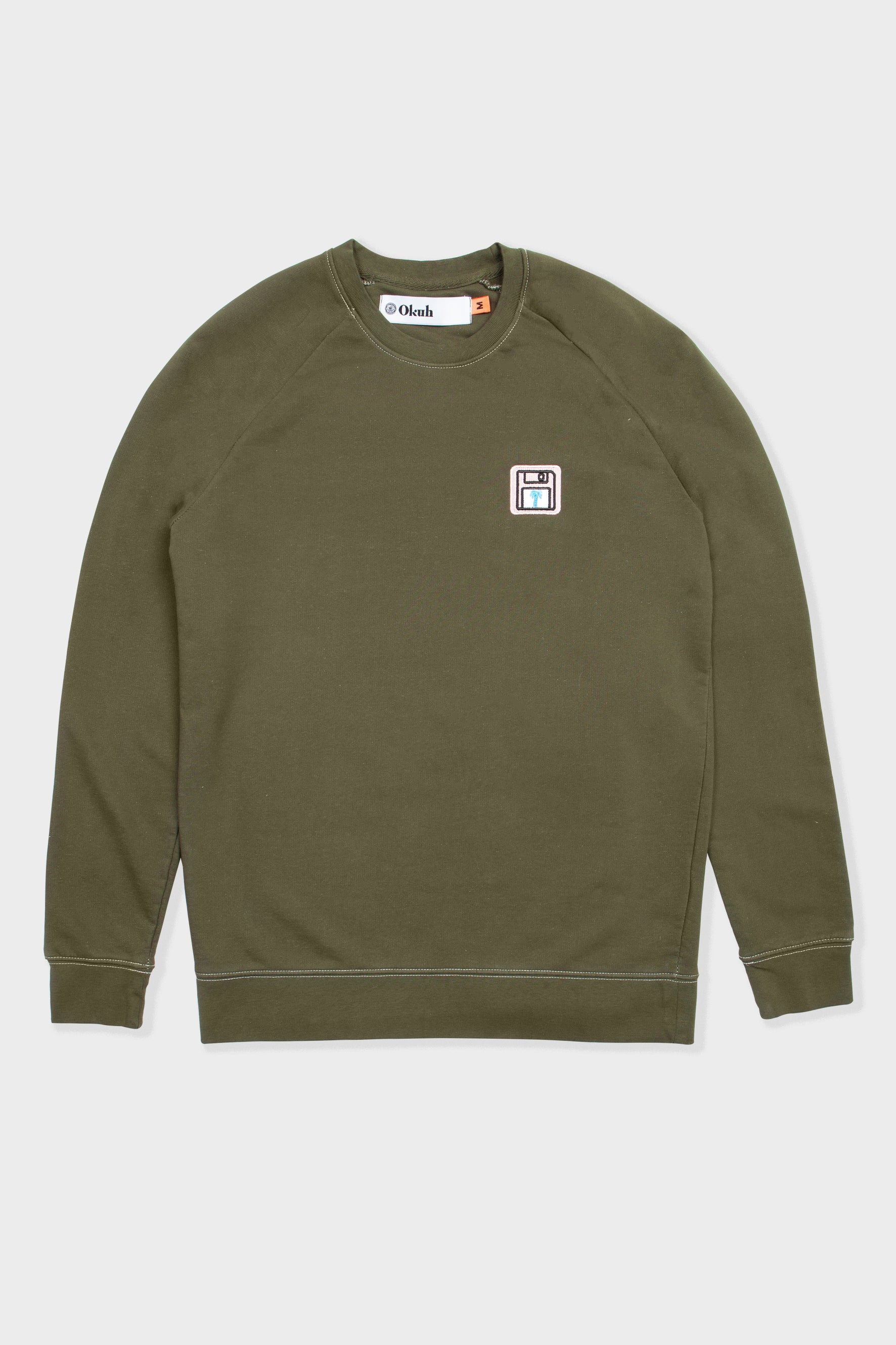 Back Up Disk - Washed Khaki Embroidered Sweatshirt - okuhstudios