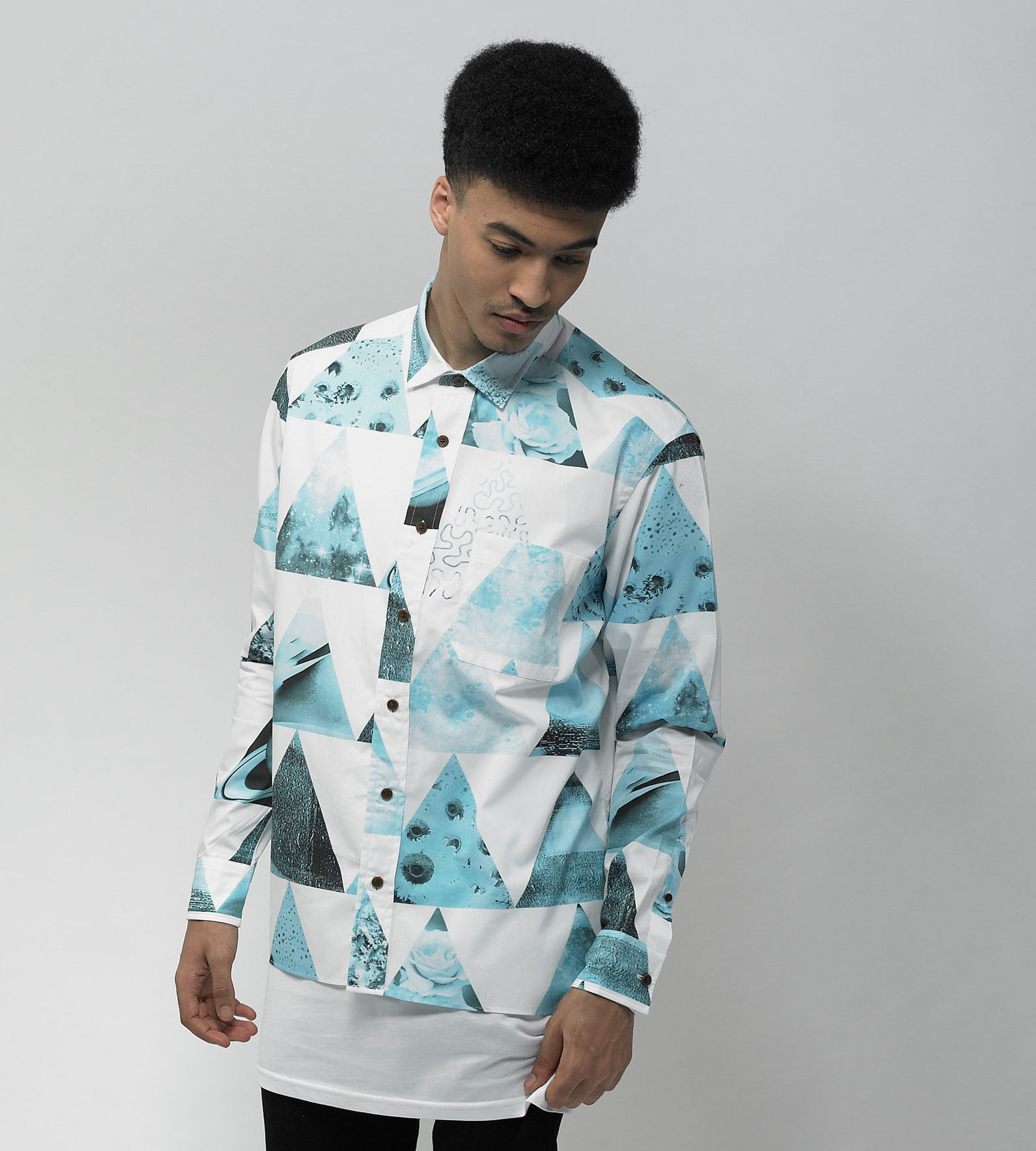 Black Bacteria Print Long Sleeve Shirt