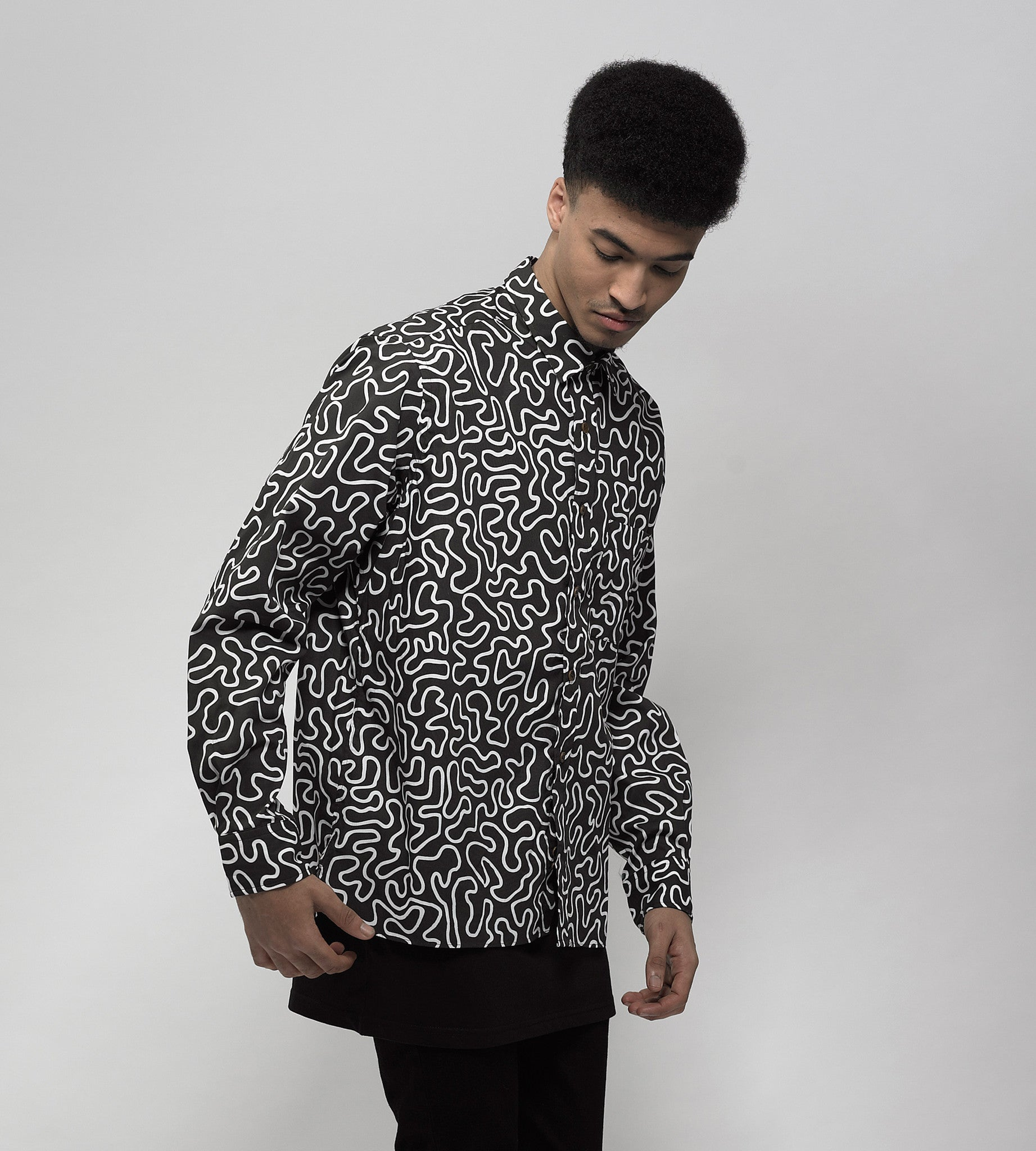 Black Bacteria Print Long Sleeve Shirt - okuhstudios