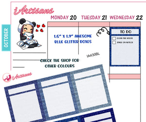 Blue Glitter Boxes with Header Stickers