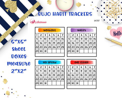 Bullet Journal Monthly Habit Trackers