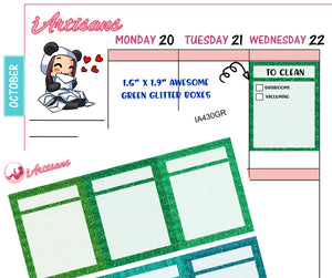 Glitter Planner Boxes with Header - Green