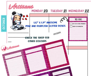 Glitter Planner Boxes with Header - Pink