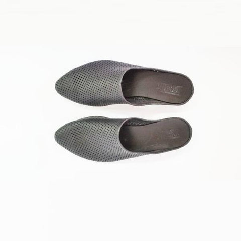 Black  perforated Slip on mules. 453