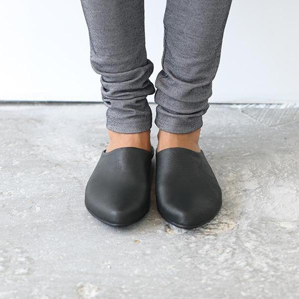 Black textured Slip on mules. 453